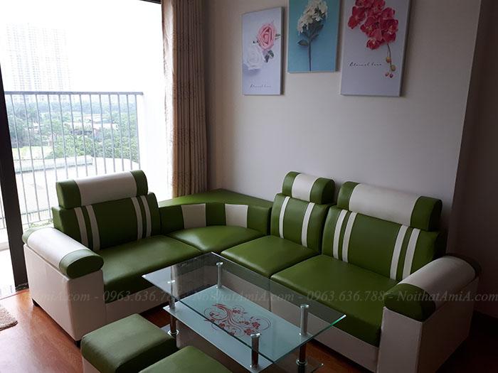 Hình ảnh ghế sofa da góc nhỏ cho phòng khách nhỏ nhà chung cư