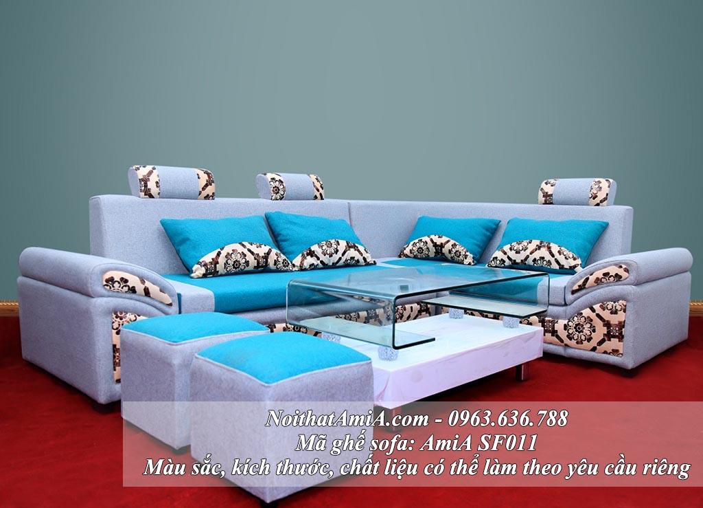 Hình ảnh mẫu sản phẩm ghế sofa nỉ chữ L đẹp AmiA SFN011 đẹp hiện đại