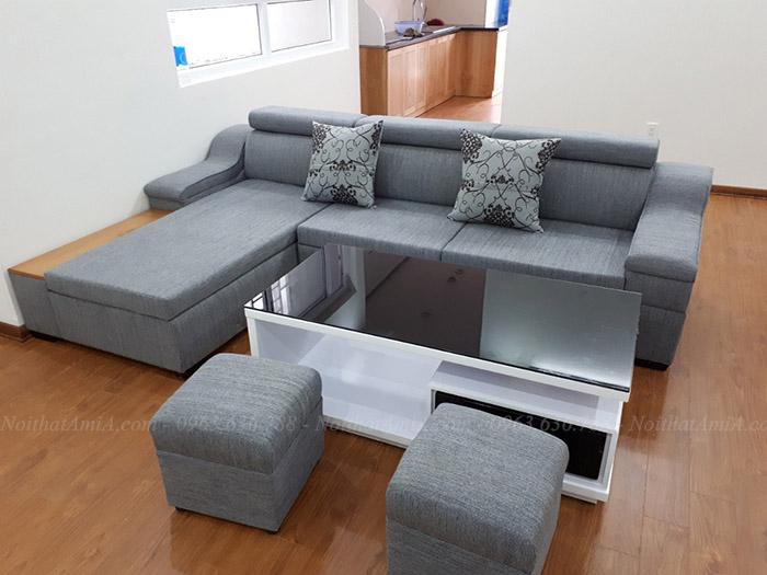 Hình ảnh mẫu ghế sofa nỉ góc chữ L đẹp hiện đại AmiA SFN092
