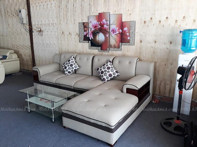 Hình ảnh mẫu ghế sofa đẹp da chữ L thiết kế rút khuy