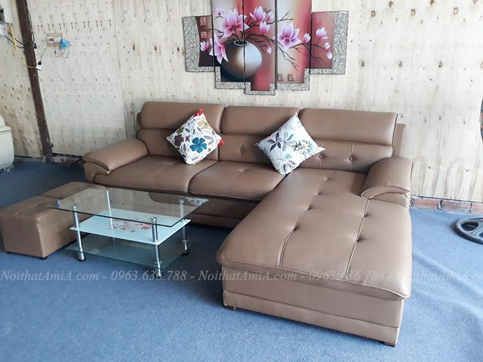 Hình ảnh Mẫu ghế sofa da chữ L đẹp tại Tổng kho AmiA