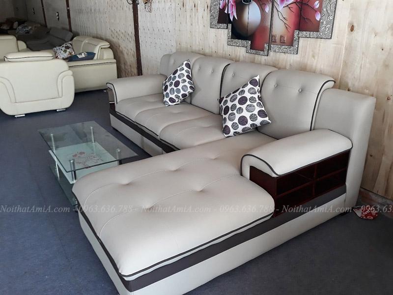 Hình ảnh Mẫu ghế sofa đẹp da chữ L hiện đại và sang trọng cho căn phòng đẹp