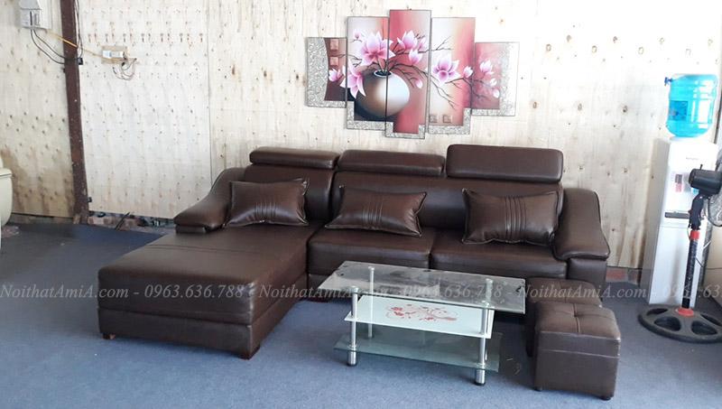 Hình ảnh Mẫu ghế sofa đẹp da chữ L thật hiện đại và sang trọng