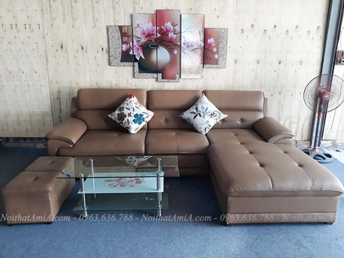 Hình ảnh Mẫu sofa da chữ L đẹp cho không gian căn phòng khách đẹp gia đình