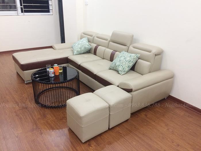 Hình ảnh Ghế sofa đẹp da góc chữ L hiện đại và sang trọng