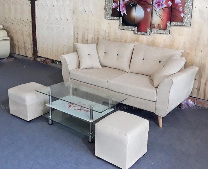 Hình ảnh Mẫu sofa đẹp dang văng thiết kế rút khuy gối tựa AmiA SFN156