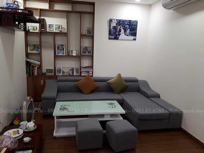 Hình ảnh mẫu ghế sofa đẹp với thiết kế hình chữ L cùng chất liệu nỉ hiện đại