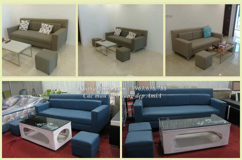 Hình ảnh mẫu sofa văng đẹp xinh AmiA SF096 với chất liệu da hiện đại