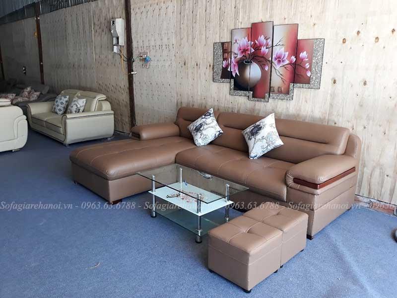 Hình ảnh ghế sofa chữ L da đẹp với gam màu nhẹ nhàng, tinh tế