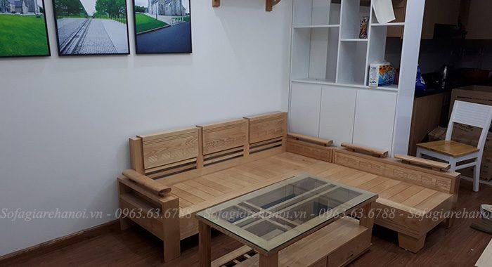 Hình ảnh ghế sofa chữ L gỗ đẹp hiện đại cho căn phòng khách đẹp