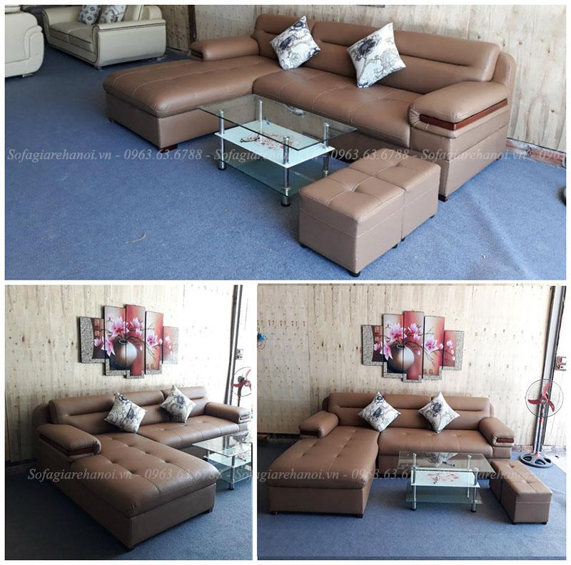 Hình ảnh ghế sofa da chữ L đẹp sang trọng với thiết kế rút khuy và phần tựa lưng độc đáo