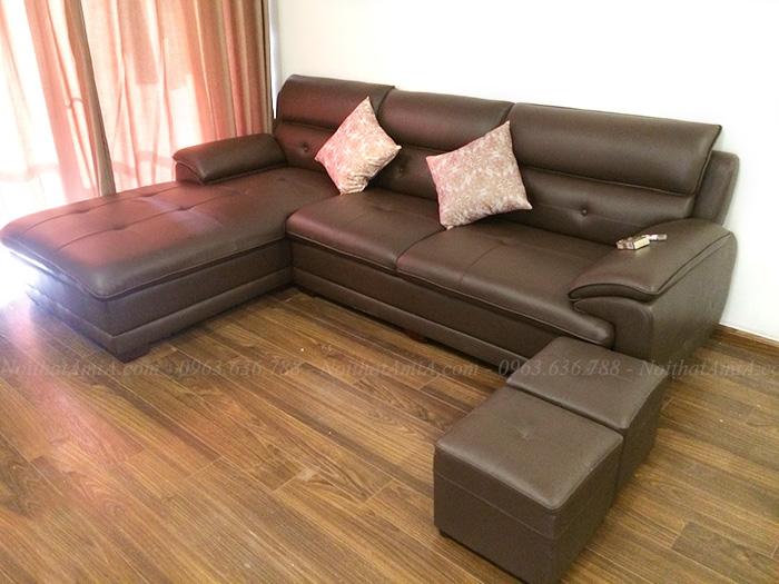 Hình ảnh Ghế sofa đẹp da góc chữ L hiện đại bài trí trong căn phòng khách đẹp gia đình