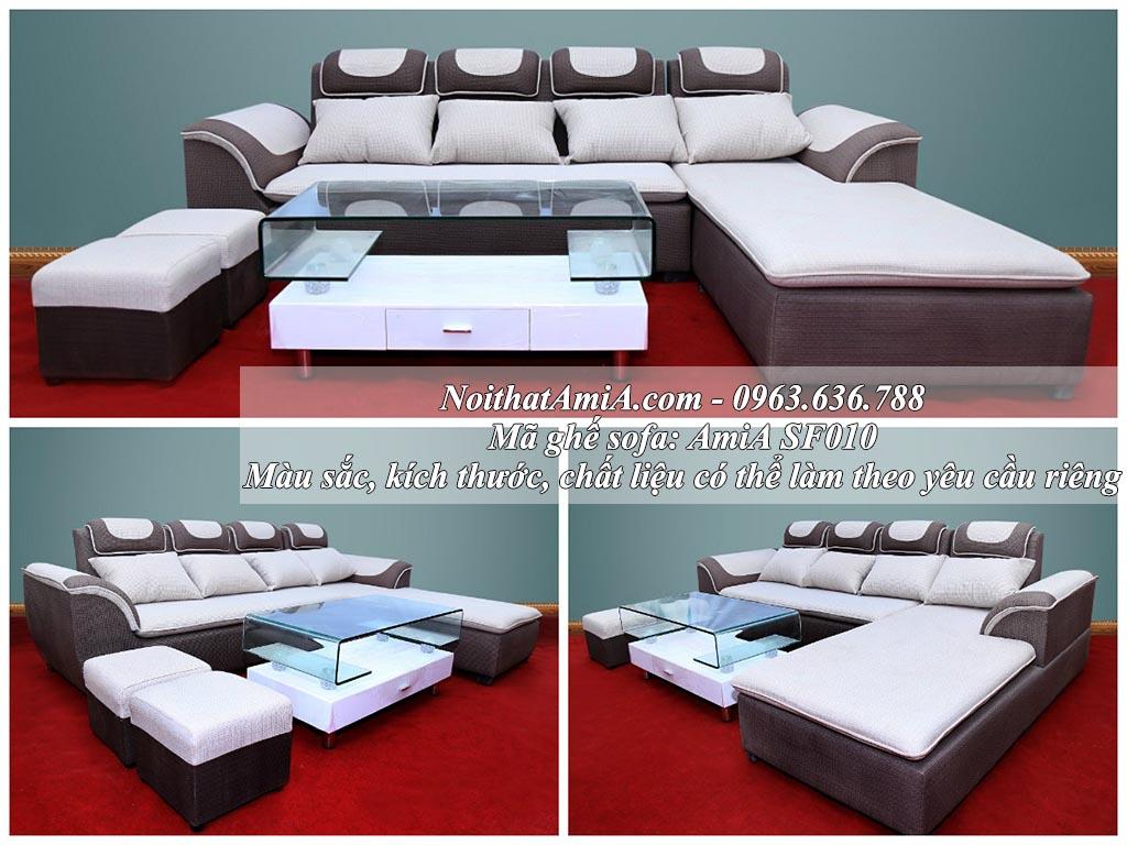 Hình ảnh sofa nỉ chữ L AmiA SF010 thiết kế hiện đại, sang trọng