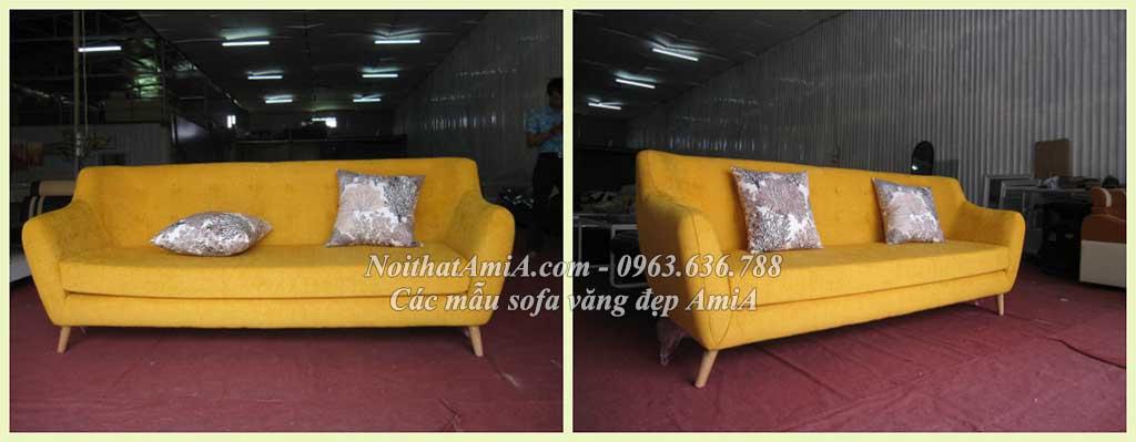 Hình ảnh Ghế sofa văng đẹp màu vàng với thiết kế rút khuy gần giống mẫu 095
