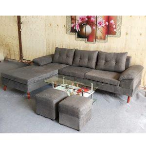 Hình ảnh Mẫu ghế sofa nỉ đẹp hình chữ L 3 chỗ hiện đại và sang trọng