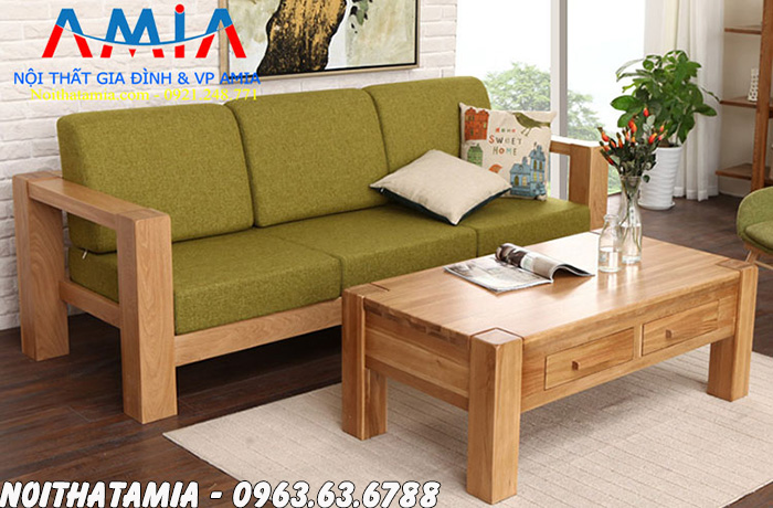 Hình ảnh Bộ bàn ghế sofa cafe thiết kế kiểu văng gỗ mini đẹp