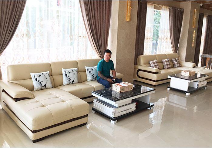 Hình ảnh Bộ bàn ghế sofa sảnh khách sạn đẹp thiết kế kiểu dáng sofa da góc chữ L