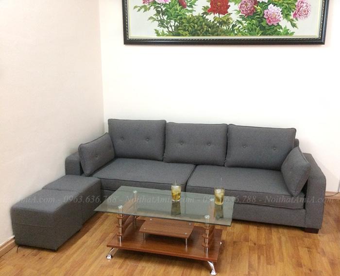 Hình ảnh Bộ ghế sofa đẹp dạng văng nỉ nhỏ xinh cho nhà nhỏ