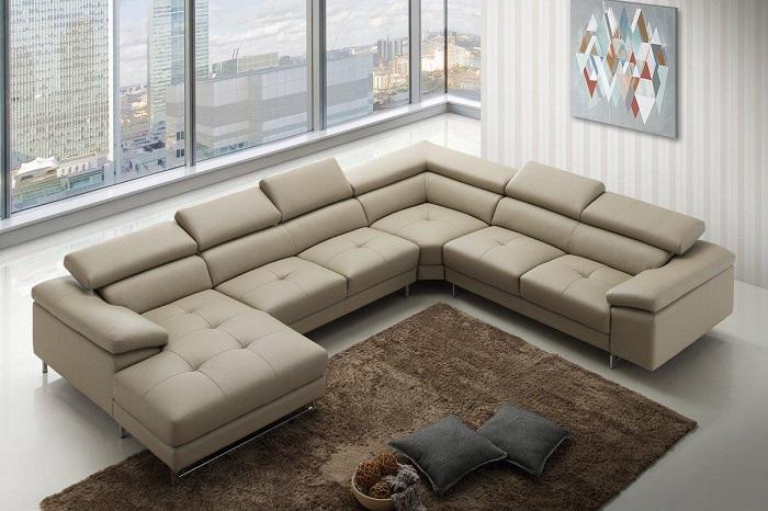 Hình ảnh Mẫu ghế sofa da góc hình chữ U đẹp hiện đại và sang trọng cho phòng khách rộng