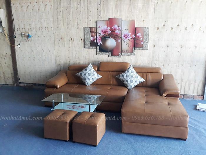 Hình ảnh Ghế sofa đẹp da chữ L chụp tại tổng kho Nội thất AmiA