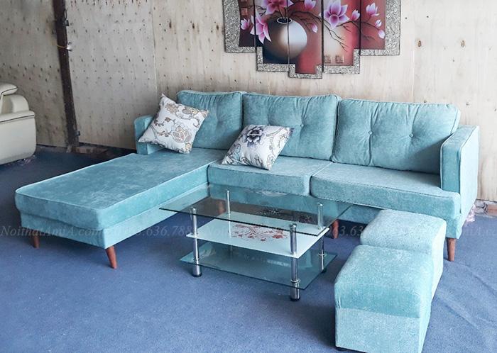 Hình ảnh Ghế sofa nỉ chữ L đẹp 3 chỗ chụp thực tế tại Nội thất AmiA