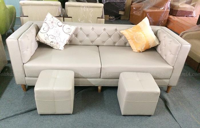Hình ảnh Ghế sofa văng da đẹp hiện đại và sang trọng với thiết kế rút khuy