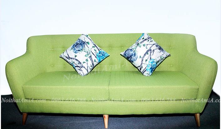 Hình ảnh Ghế sofa văng đẹp chất liệu nỉ gam màu xanh nhẹ nhàng, mát mắt