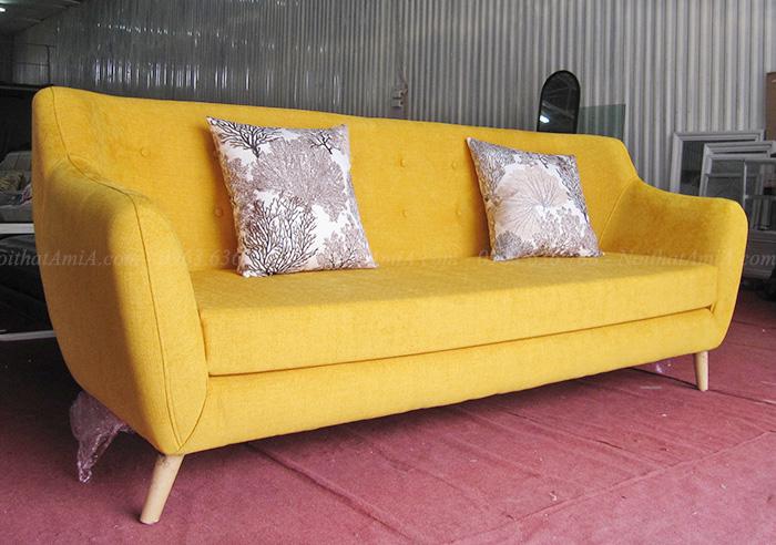 Hình ảnh Ghế sofa văng nỉ đẹp thiết kế rút khuy hiện đại tại Tổng kho Nội thất AmiA