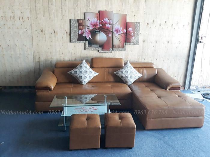 Hình ảnh Mẫu sofa đẹp da góc chữ L cho phòng khách gia đình Việt