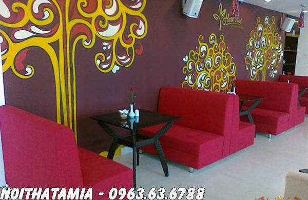 Hình ảnh sofa cafe Hà Nội đẹp hiện đại ki bài trí cùng bàn trà đẹp