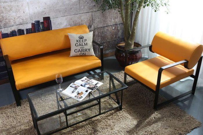Hình ảnh Ghế sofa cafe đẹp chất liệu da hiện đại và sang trọng lại dễ vệ sinh