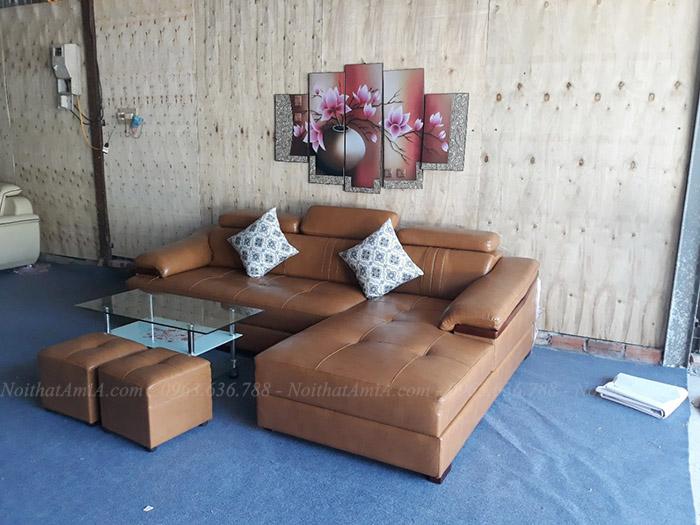 Hình ảnh Ghế sofa đẹp chữ L chất liệu da cho bạn sự lựa chọn hoàn hảo, tuyệt vời