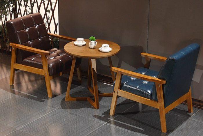 Hình ảnh Ghế sofa đơn cafe chất liệu da với gam màu tối