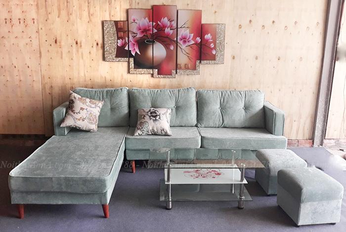Hình ảnh Sofa nỉ chữ L đẹp tại Tổng kho Nội thất AmiA