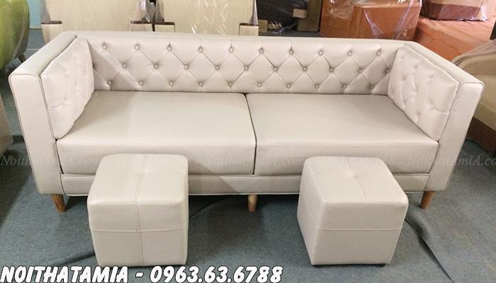 Hình ảnh Sofa spa dạng văng đẹp với chất liệu da hiện đại, sang trọng