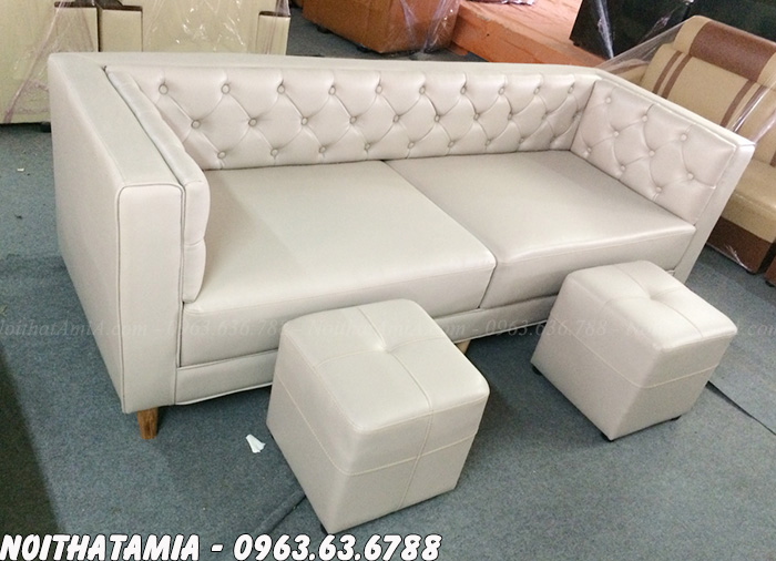 Hình ảnh Sofa spa văng đẹp thiết kế rút khuy hiện đại và sang trọng cùng chất liệu da