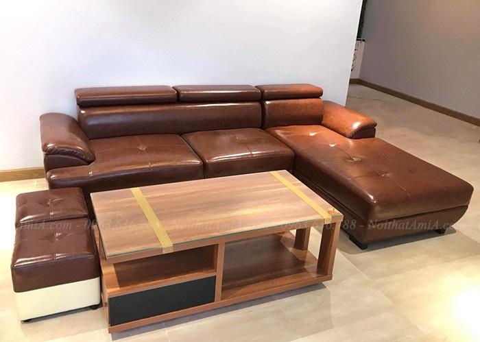 Hình ảnh Bàn ghế sofa da đẹp phòng khách hiện đại gia đình