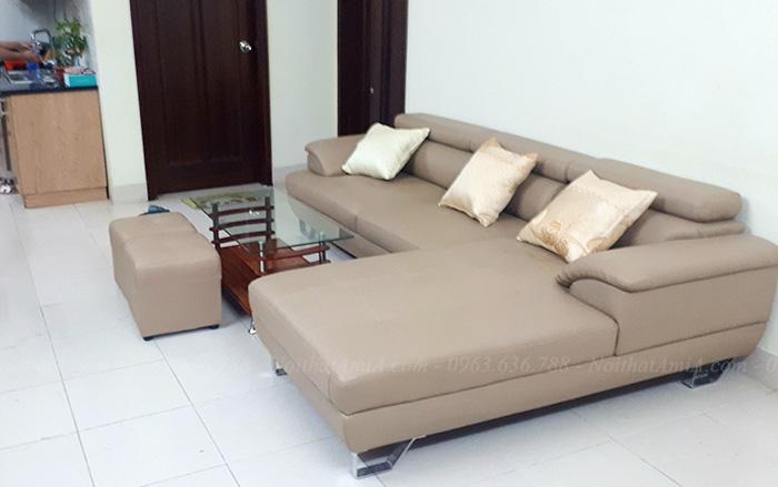 Hình ảnh bộ Bàn ghế sofa da đẹp AmiA03 bài trí trong phòng khách gia đình