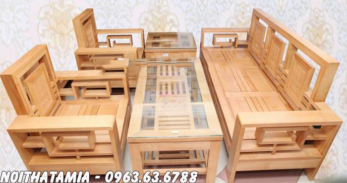 Hình ảnh Bộ bàn ghế gỗ đẹp hiện đại cho phòng khách đẹp gia đình