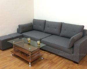 Hình ảnh Bộ bàn ghế sofa nhỏ đẹp thiết kế dạng ghế sofa văng nỉ 3 chỗ