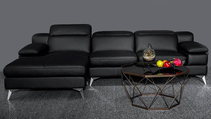 Hình ảnh Bộ ghế sofa da đẹp màu đen sang trọng và đẳng cấp
