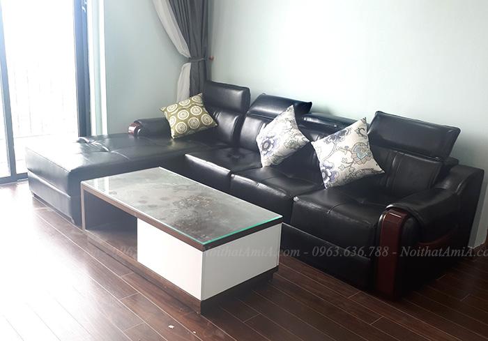 Hình ảnh Bộ ghế sofa da phòng khách đẹp kết hợp bàn trà sofa