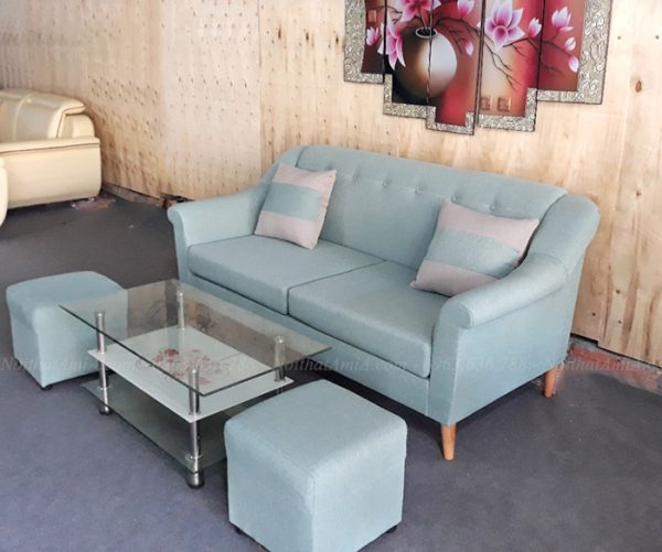 Hình ảnh Bộ ghế sofa nhỏ đẹp hiện đại với chân đế cao và chất liệu bọc vải nỉ