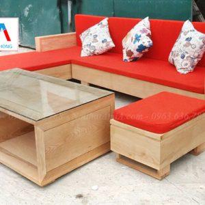 Hình ảnh Mẫu ghế sofa chữ L gỗ với hình ảnh chụp thực tế tại Tổng kho Nội thất AmiA