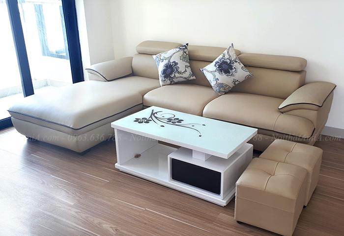 Hình ảnh Ghế sofa da chữ L thiết kế viền đẹp đang là xu hướng mới trên thị trường