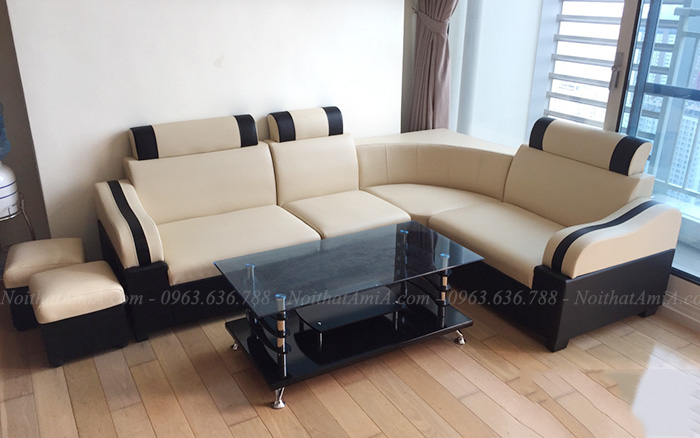 Hình ảnh Ghế sofa da giá rẻ Hà Nội thiết kế đơn giản mà đẹp