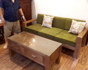 Hình ảnh Ghế sofa nhỏ đẹp Hà Nội thiết kế dạng văng gỗ kích thước nhỏ