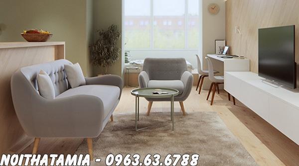 Hình ảnh Ghế sofa nhỏ hiện đại giá rẻ kết hợp cùng kệ tivi trong không gian phòng khách