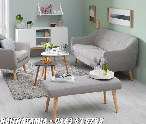 Hình ảnh Ghế sofa nhỏ xinh kết hợp cùng bàn trà hiện đại cho căn phòng khác nhỏ