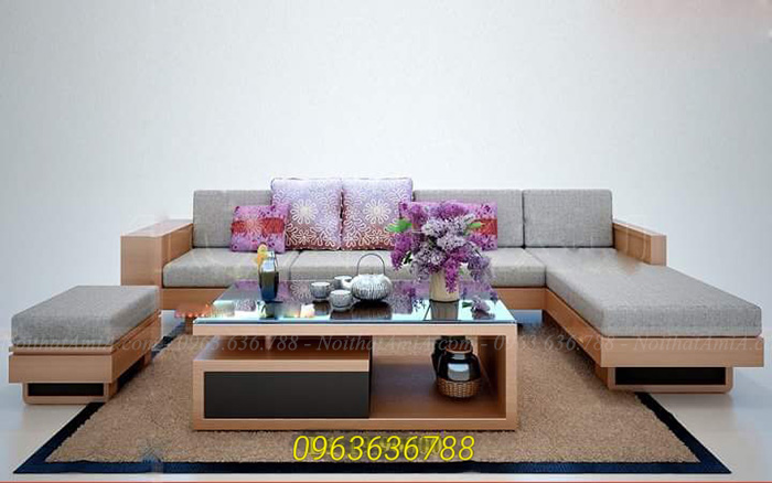 Hình ảnh Mẫu ghế sofa gỗ chữ L đẹp hiện đại và sang trọng khi thêm phần nệm mút